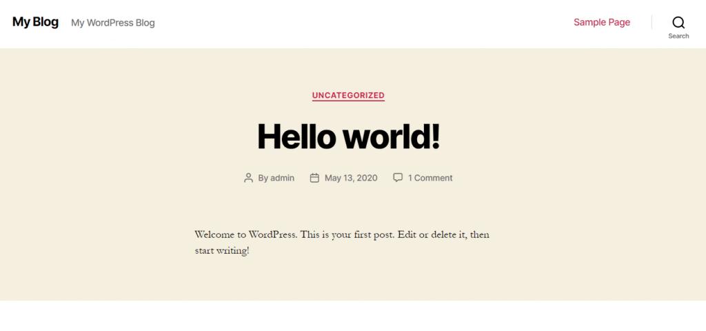 WordPress website first view