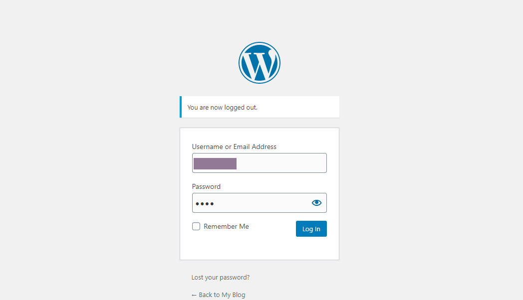 WordPress login dashboard