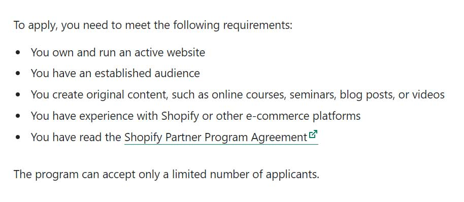 Shopify Affiliate Partnership Requirements