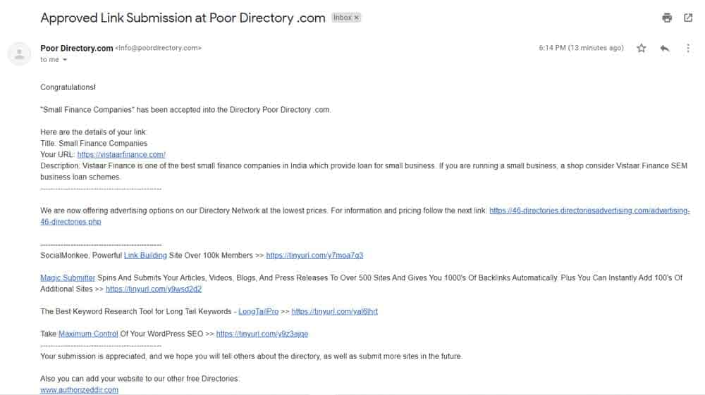 directory submission approval email