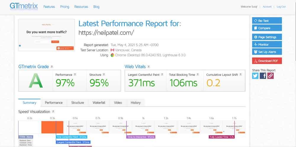 Neil Patel Site Core Web Vitals